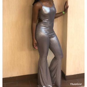 Silver Sparkly Jumpsuit w/Flare Legs and Open Back